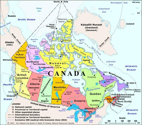 Map Of Canada And Surrounding Countries.Guide To Canadian Jewish Genealogical Research