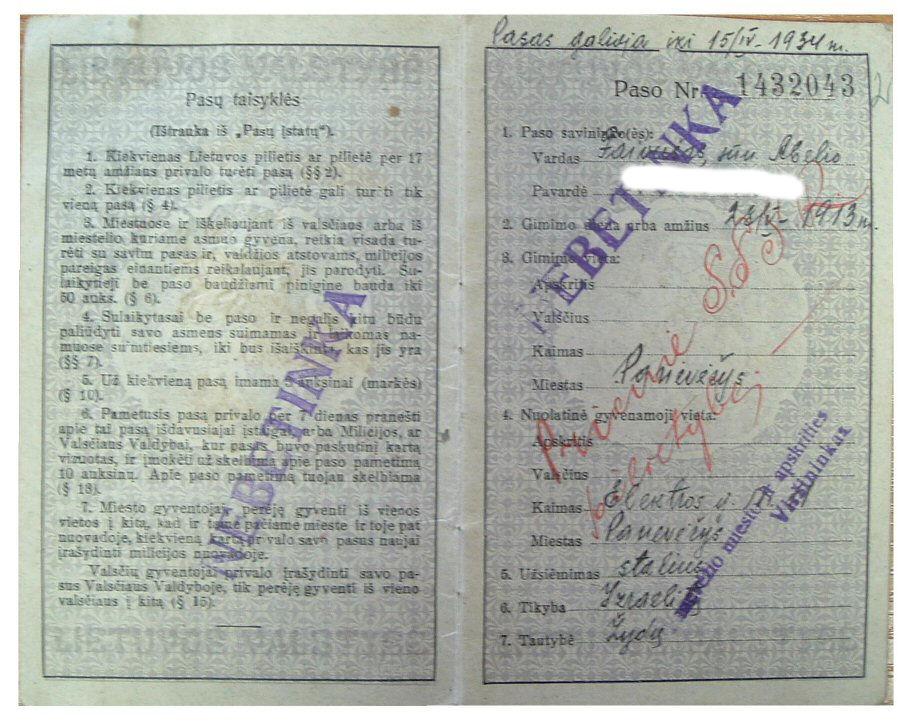 Lithuania Internal Passports Database 1919 1940