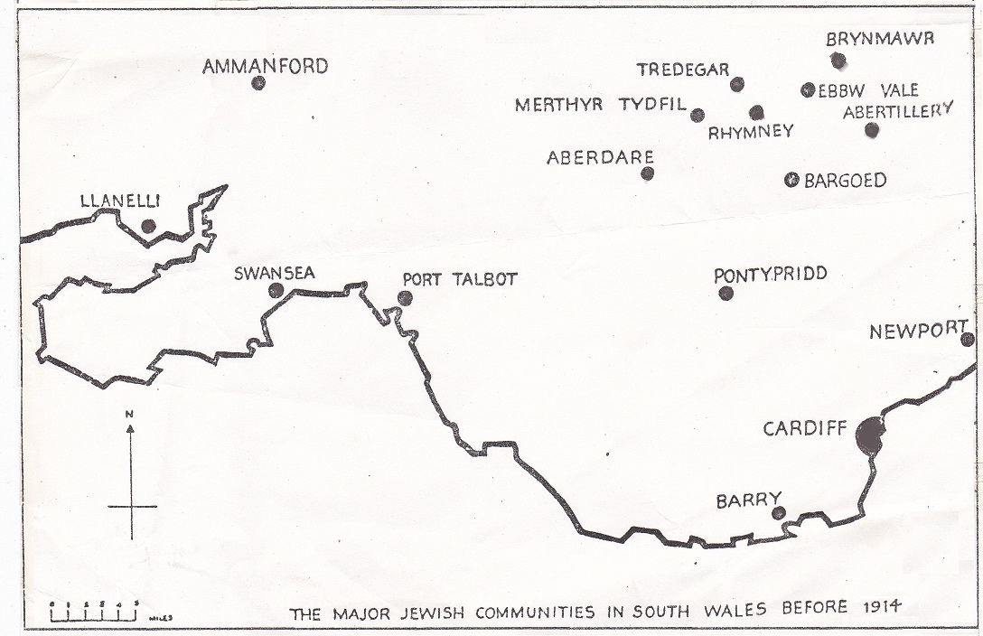map of South Wales Jewish Communities