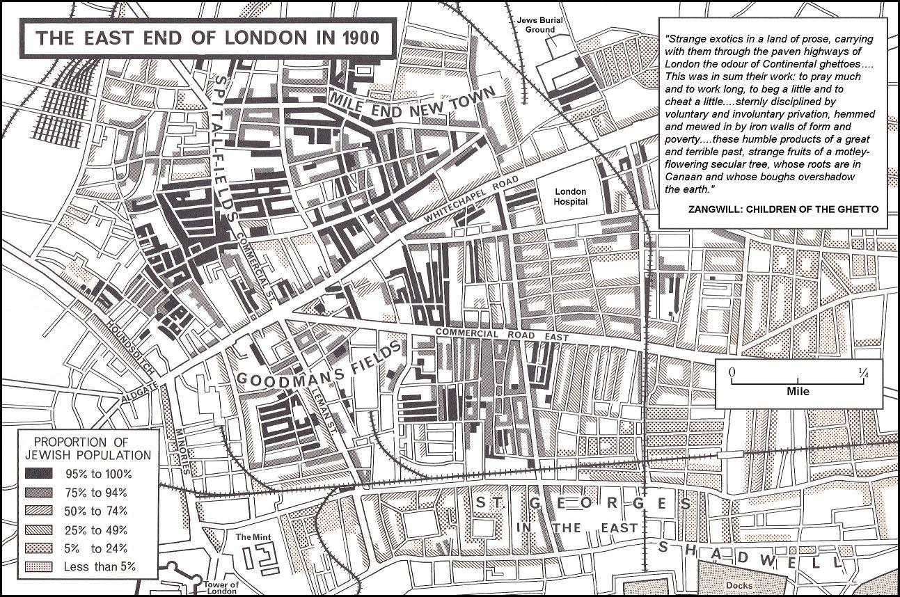 East End Of London Map.Jcr Uk Map Of Density Of Jewish Population 1900