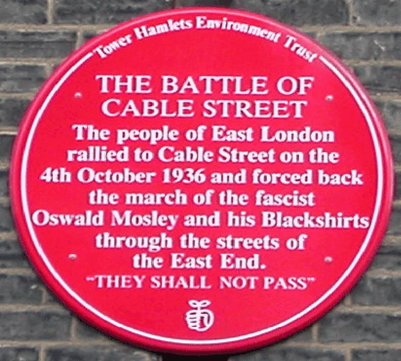 Plaque in Cable Street, London